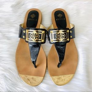 {Isola} Black/Gold Patent Leather Sandals